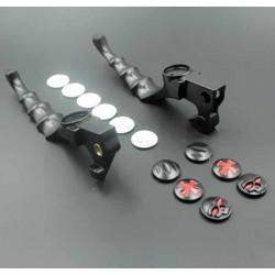 Leviers de frein et embrayage custom noir avec icônes interchangeables.