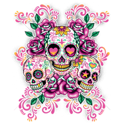 Sweat capuche femme three skulls fluo