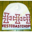 Bonnet biker west coast chopper blanc