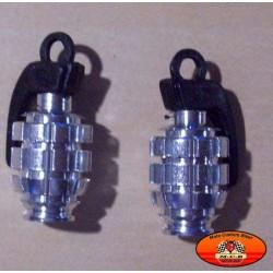 Bouchons de valves moto grenade chromés