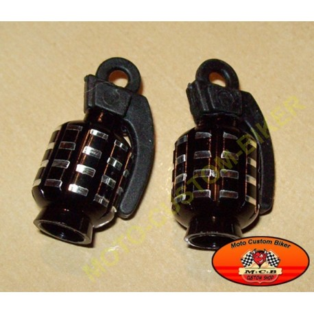 Bouchons de valves moto grenade noir