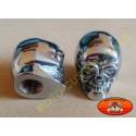 Bouchons de valves moto tête de mort yeux argent