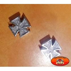 Bouchons de valves moto croix de malte chrome