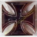 Boucle de ceinture croix de malte noir.