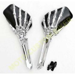 Rétroviseurs moto mains squelettes chrome et noir.