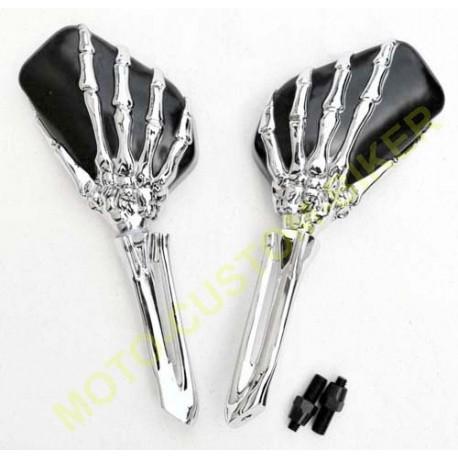 retroviseurs mains squelettes pour harley et custom, accessoires moto