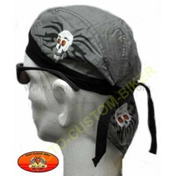 Zandana biker mode harley Skull Print on Grey