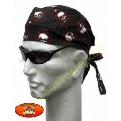 Zandana biker mode harley White Skull Print Black