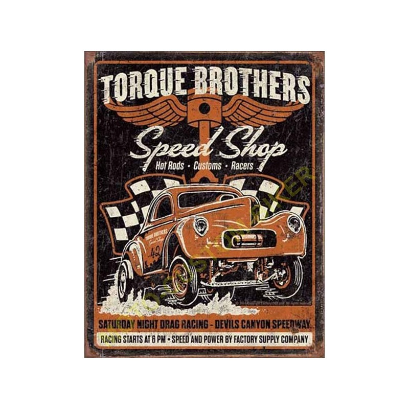 plaque metal decorative torque bros motocustombiker accessoiresbiker. Black Bedroom Furniture Sets. Home Design Ideas