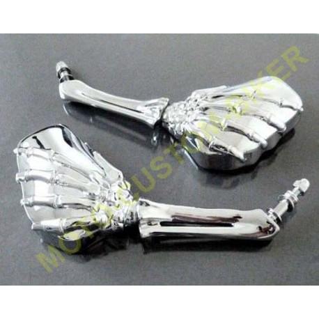 Rétroviseurs mains squelettes chromés