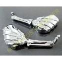 Rétroviseurs moto mains squelettes chromés.