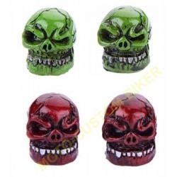 Bouchons de valves moto crazy skull vert, rouge