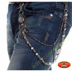 Chaîne portefeuille ou clés dés et chaîne torsadée
