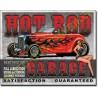 Plaque metal decorative hot rod garage