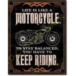 Plaque metal decorative life is life motorcycle