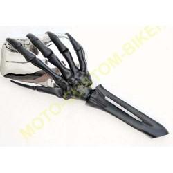 Rétroviseurs moto mains squelettes noir et chrome. coté gauche