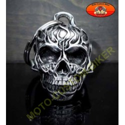 Clochette moto flaming skull