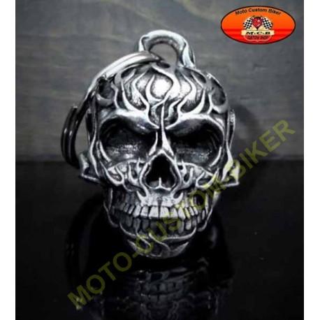 Clochette moto flaming skull