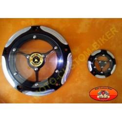 Kit couvercle embrayage et couvercle allumage RSD transparent noir/alu