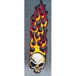 Patch, écusson long flaming skull