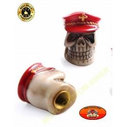 Bouchons de valves moto red hat skull