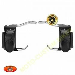 Bagage moto, sacoches porte bidon latérales droite pour pares jambes flh et road king
