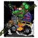 T shirt biker green monster yellow rod