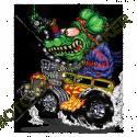 T shirt biker green monster yellow hot rod