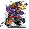 T shirt biker purple monster red hot rod