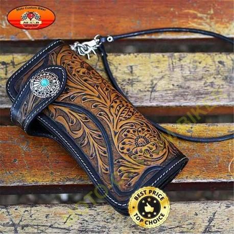 Portefeuille cuir véritable fait main, bleu eye