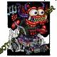 T shirt biker red monster purple hot rod