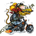 T shirt biker yellow monster orange cycle.