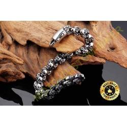 Bracelet biker totem skulls silver