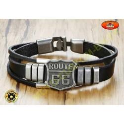 Bracelet triple cuir avec logo route 66