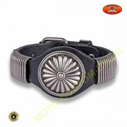 Bracelet cuir noir avec logo rosace