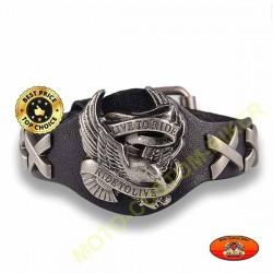 Bracelet cuir noir avec logo ride to live