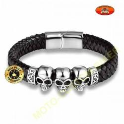 Bracelet cuir tressé noir surmonté de 3 têtes de mort silver
