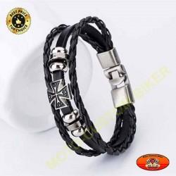 Bracelet triple cuir noir tressé avec logo croix de malte