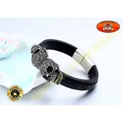 Bracelet cuir noir tressé avec 2 skulls mexicaine