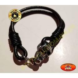 Bracelet cuir noir avec tête de mort
