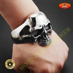 Bracelet en acier inoxydable 316L, grosse tete de mort