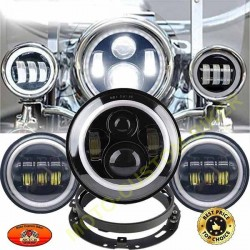 Kit complet phare à leds daymaker noir ou chrome avec veilleuse