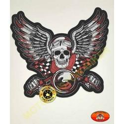 Patch, écusson skull racing biker grand format