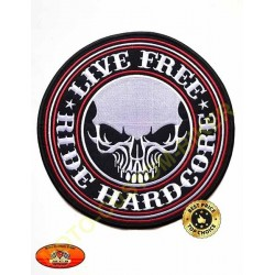 Patch, écusson live free hardcore, grand format